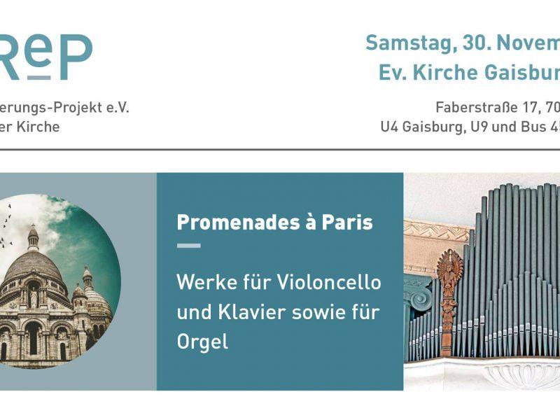 Plakat des OReP Konzertes Promenades a Paris im November 2019, Stuttgart-Gaisburg
